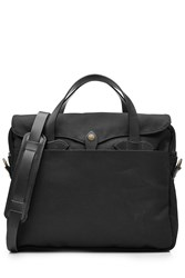 Filson Padded Twill Laptop Bag With Leather Black