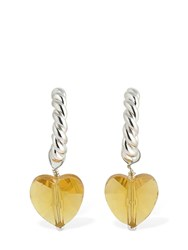 Isabel Lennse Xs Twisted Earrings W Medium Glass Heart Yellow