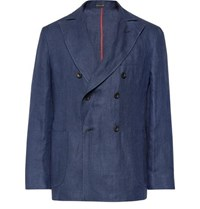 Rubinacci Navy Unstructured Double Breasted Linen Blazer