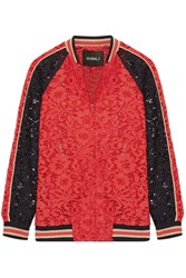 Goen J Cotton Blend Corded Lace Bomber Jacket Red