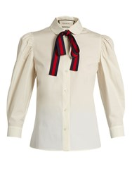 Gucci Tie Neck Cotton Poplin Blouse Ivory