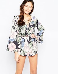 Love Lace Front Romper In Floral Print Bold Floral Print