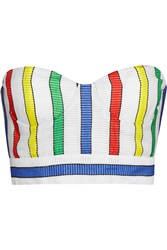 Alice Olivia Zora Striped Chiffon Bustier White