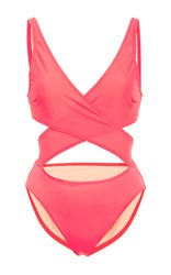 Solid And Striped Poppy Wrap One Piece Pink