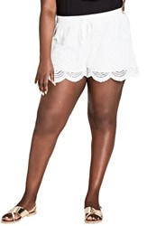 City Chic Plus Size Women's Summer Love Drawstring Shorts Ivory