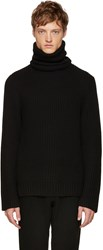 Christian Dada Black Wool Ribbed Turtleneck
