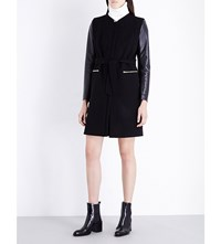 Sandro Gloria Wool Blend And Leather Coat Noir