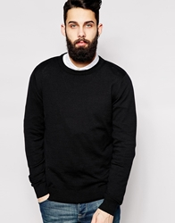 Only And Sons Knitted Cotton Crew Neck Jumper Black