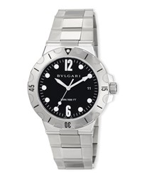Bulgari 41Mm Diagono Scuba Stainless Steel Watch Black Dial Bvlgari