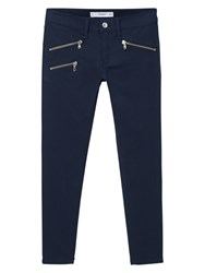 Mango Skinny Zip Trousers Navy