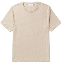 Enlist Slim Fit Slub Linen Jersey T Shirt Neutral