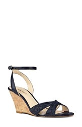 Nine West Women's Kami Ankle Strap Wedge Sandal Navy Leather
