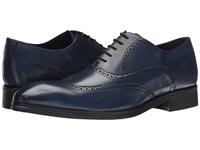 Messico Ciro Navy Blue Leather Men's Flat Shoes