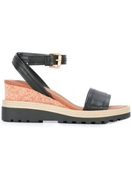 See By Chloe Ankle Strap Wedge Sandals Black