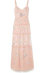 Needle And Thread Ruffled Sequined Tulle Gown Baby Pink