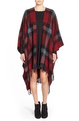 Capelli Of New York Plaid Print Ruana Red