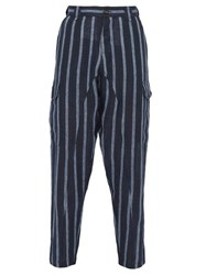Denis Colomb Voyageur Striped Linen Trousers Navy Multi