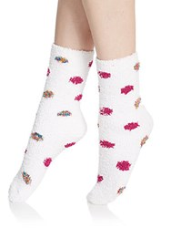Ellen Tracy Fuzzy Mid Calf Socks Set Lilac Print