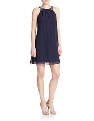 Vince Camuto Jeweled Neckline Shift Dress Navy
