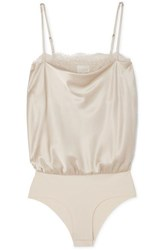 Cami Nyc The Romy Lace Trimmed Stretch Silk Charmeuse And Jersey Bodysuit Beige