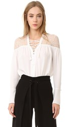 Yigal Azrouel Lace Up Ruched Top Optic White