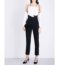 Roland Mouret Benford Stretch Crepe Jumpsuit White Black