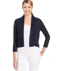 Jones New York Collection Petite Cropped Pointelle Trim Cardigan Navy