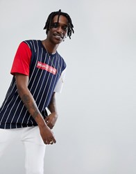 Dc Shoes T Shirt In Stripe With Contrasting Sleeves Navy