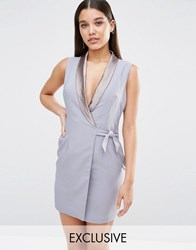 Naanaa Plunge Mini Tuxedo Dress Blue Grey