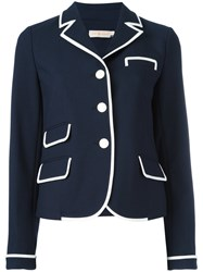 Tory Burch Contrast Trim Blazer Blue
