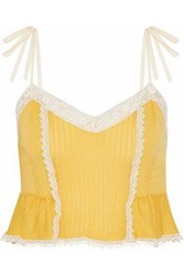 Red Valentino Redvalentino Woman Crochet Trimmed Pointelle Knit Cashmere And Silk Blend Top Yellow