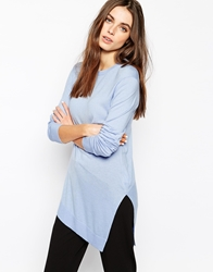 Whistles Mai Crew Neck Asymmetric Hem Knit Blue