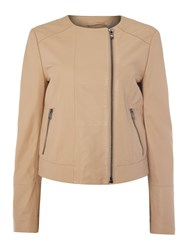 Sportmax Long Sleeve Leather Zip Up Jacket Pink
