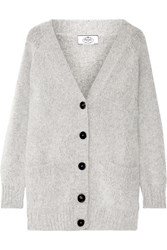 Prada Oversized Angora Blend Cardigan Light Gray