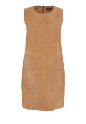 Hallhuber Suede Dress With Patch Pockets Brown