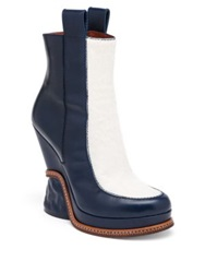 Fendi Leather And Calf Hair Two Tone Booties Blue White Black Brown