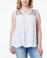Planet Gold Trendy Plus Size Embroidered Keyhole Top Bright White