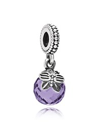 Pandora Design Pandora Dangle Charm Sterling Silver And Cubic Zirconia Morning Butterfly Moments Collection Silver Purple