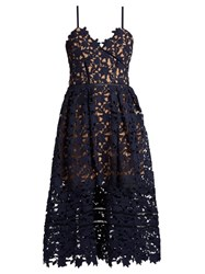 Self Portrait Azaelea Lace Midi Dress Dark Blue