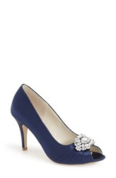 Women's Pink Paradox London 'Tender' Open Toe Pump Navy Satin