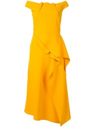 Roland Mouret Off Shoulder Midi Dress Yellow