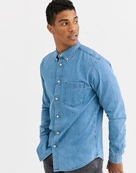 Selected Homme One Pocket Denim Shirt In Light Blue