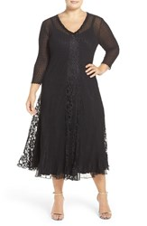 Komarov Plus Size Women's Embellished V Neck Lace And Chiffon Tea Length Dress