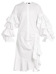 Preen Ellie Ruched Cotton Dress White