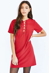Lucca Couture Short Sleeve Lace Up Dress Maroon