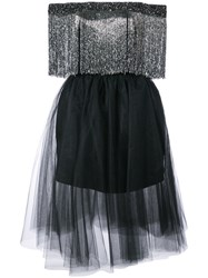 Monique Lhuillier Off The Shouler Fringed Dress Nylon Polyester Black