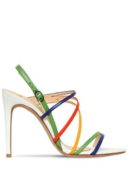 Alexandre Birman 100Mm Rainbow Leather Sandals White Multi