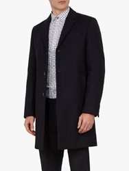 Ted Baker Mallbec 3 Button Overcoat Navy Blue