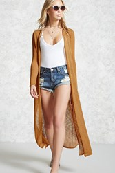 Forever 21 Open Front Duster Cardigan Mustard