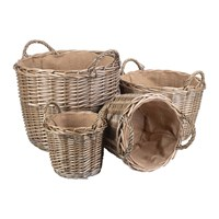 Amara Round Lined Wicker Log Basket Set Of 4